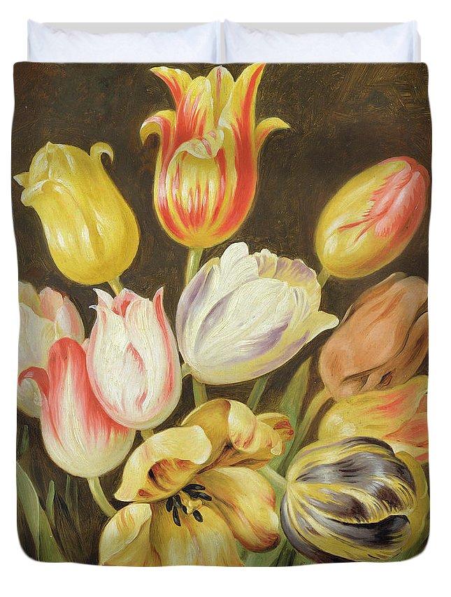 Blumenstuck Duvet Cover featuring the painting Flower Study by Johann Friedrich August Tischbein
