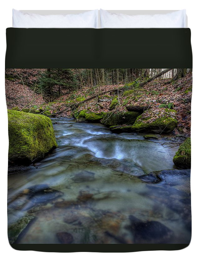 Brook Duvet Cover featuring the photograph Flowing Waters by David Dufresne