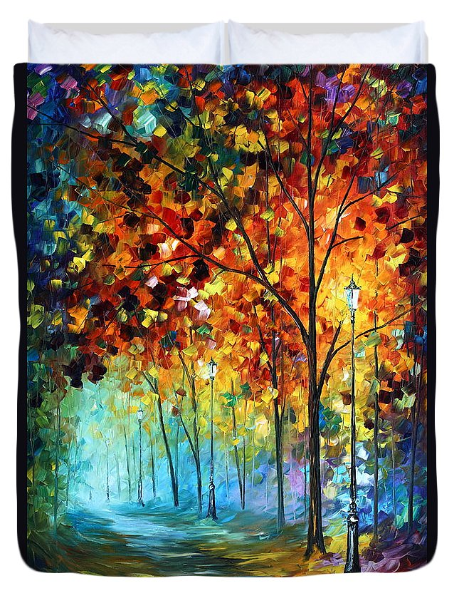Park Duvet Cover featuring the painting Fog Alley by Leonid Afremov