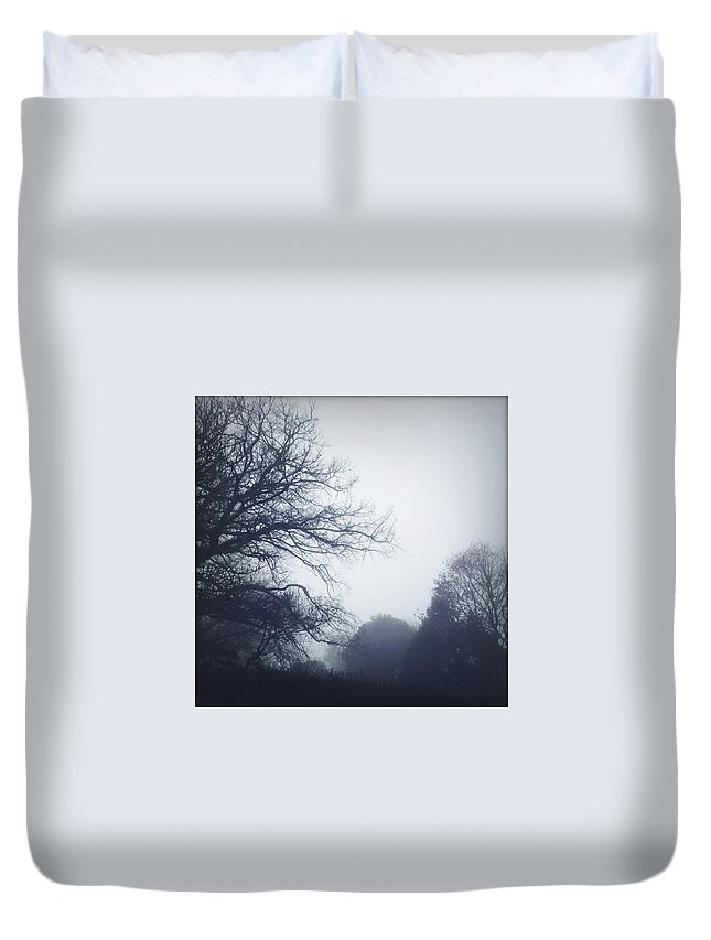 Autumn Duvet Cover featuring the photograph Foggy Morning by Les Cunliffe