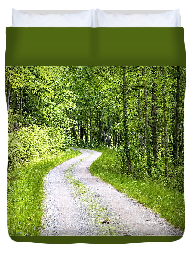 Forest Duvet Cover featuring the photograph Forest Road by Alexey Stiop