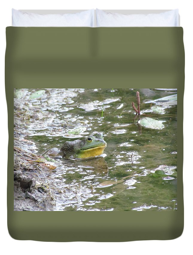 Frog Duvet Cover featuring the photograph Frog by Eric Noa