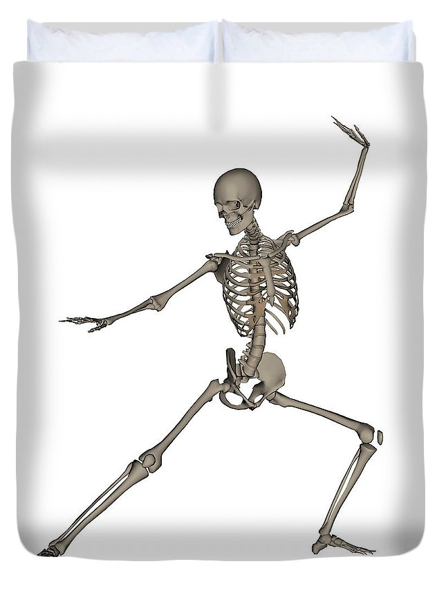 Skeleton Duvet Cover featuring the photograph Front View Of Human Skeleton by Elena Duvernay