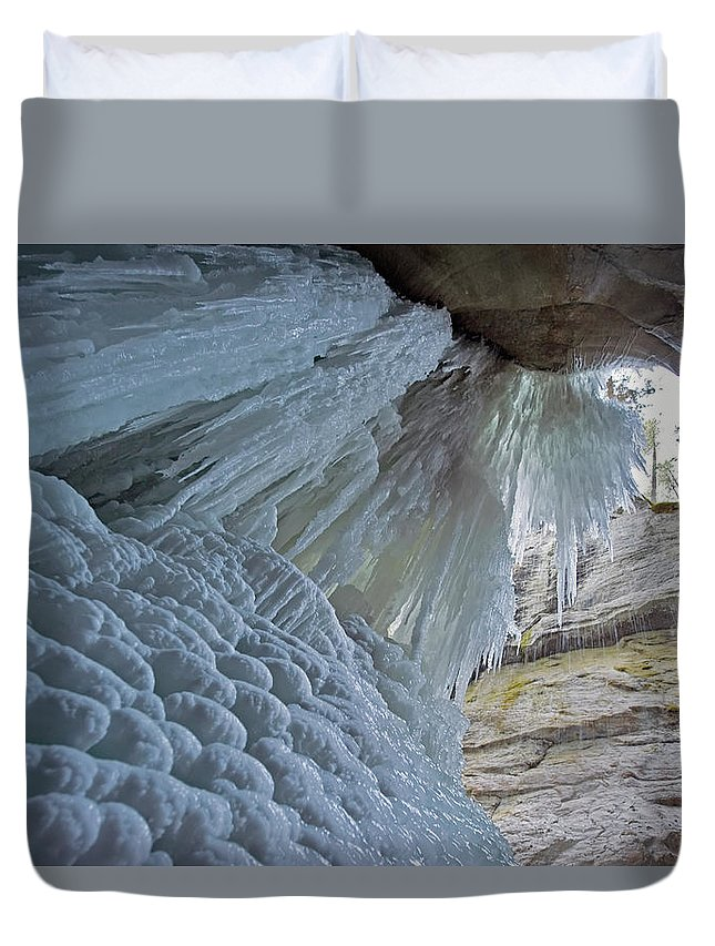 Unesco Duvet Cover featuring the photograph Frozen Waterfall At Maligne Canyon by Jim Julien / Design Pics