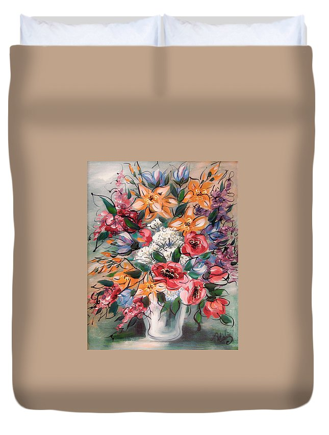 Flowers Duvet Cover featuring the painting Garden Flowers by Natalie Holland