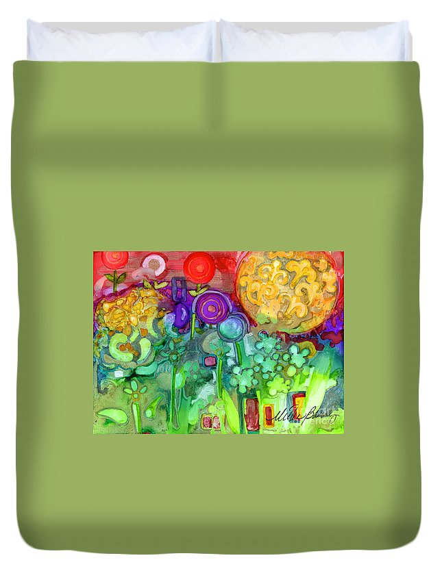 Abstract Floral Duvet Cover featuring the painting Garden Sunset by Vicki Baun Barry