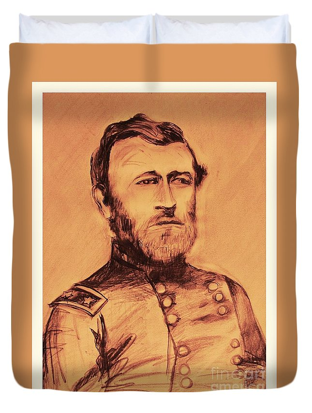 Grant Duvet Cover featuring the painting General Us Grant by Eric Schiabor