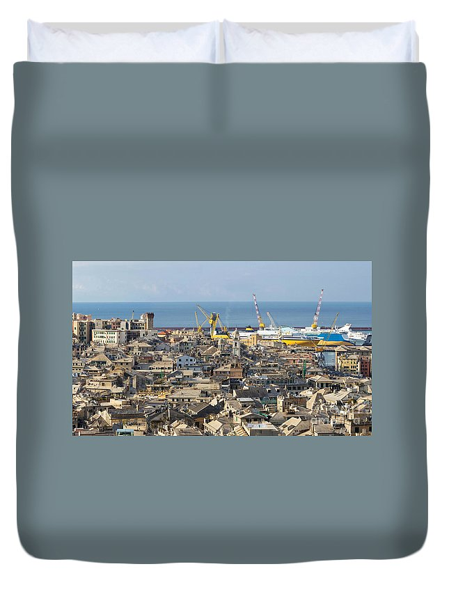 Alley Duvet Cover featuring the photograph Genova. The Old Town by Antonio Scarpi