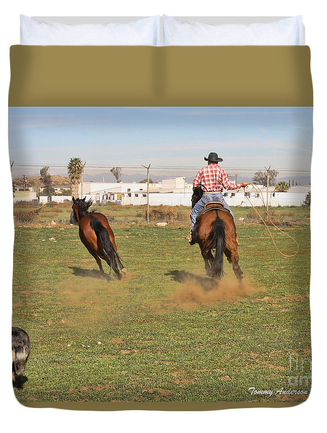 Horses Duvet Cover featuring the photograph Get Him by Tommy Anderson
