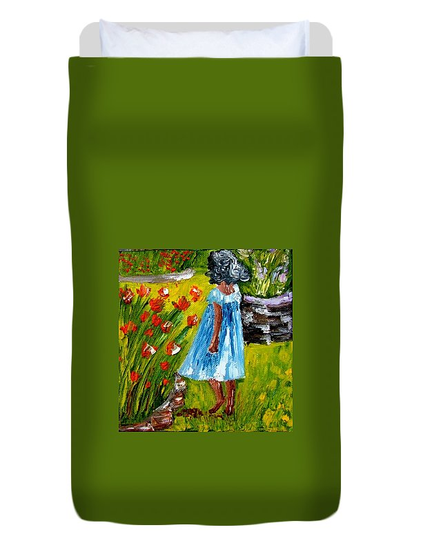 Painting Duvet Cover featuring the painting Girl In The Garden by Inna Montano