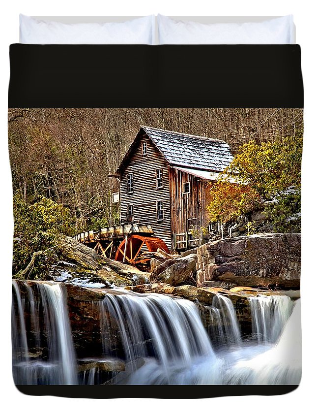 Glade Creek Duvet Cover featuring the photograph Glade Creek Grist Mill by Adam Jewell