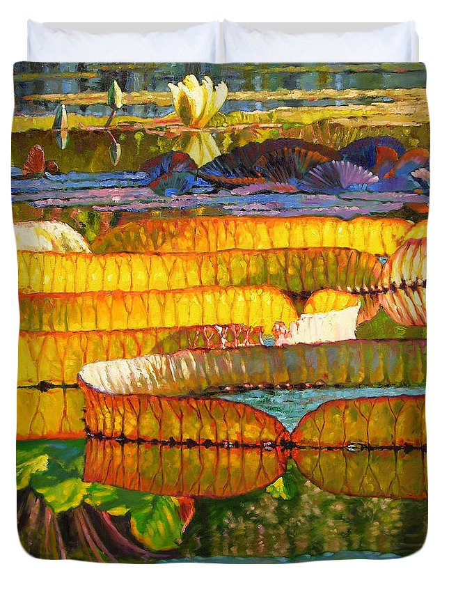 Water Lilies Duvet Cover featuring the painting Glorious Morning Lilies by John Lautermilch