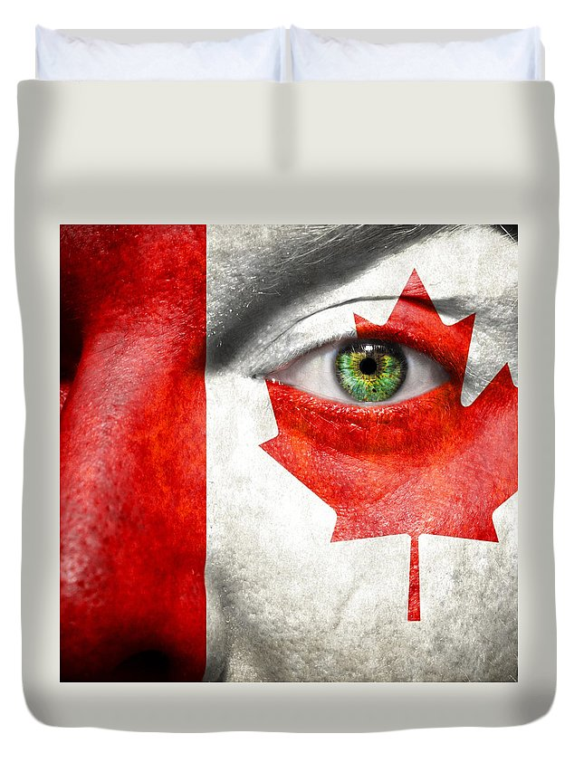 Art Duvet Cover featuring the photograph Go Canada by Semmick Photo