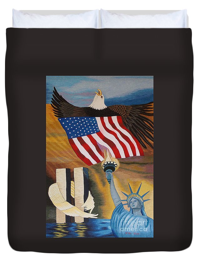 Twin Tower Duvet Cover featuring the tapestry - textile God Bless America Hand Embroidery by To-Tam Gerwe