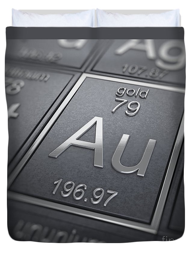 Periodic Table Duvet Cover featuring the photograph Gold Chemical Element by Science Picture Co