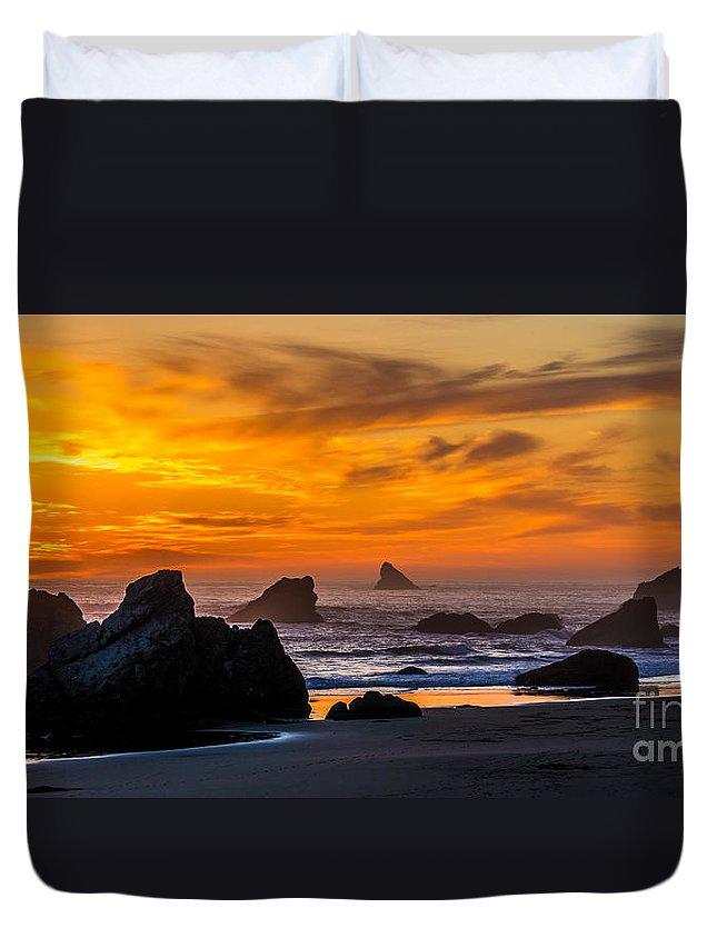 Oregon Duvet Cover featuring the photograph Golden Harris Beach Sunset - Oregon by Gary Whitton