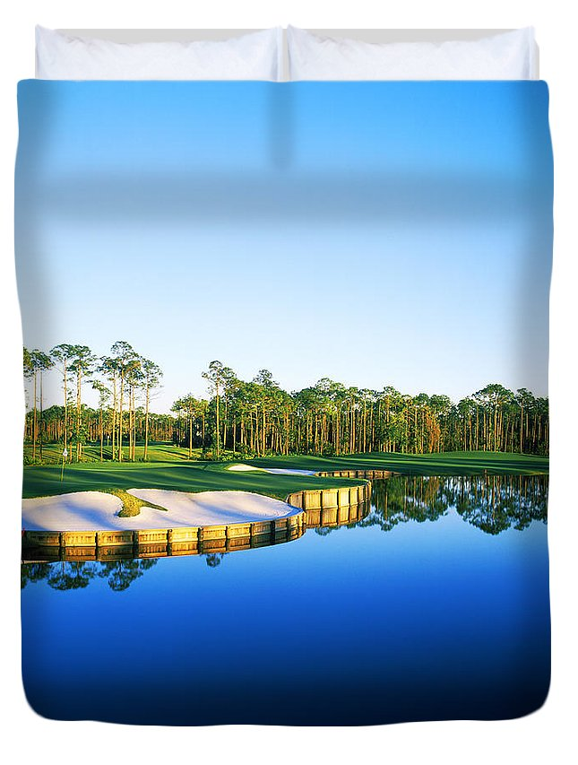 Photography Duvet Cover featuring the photograph Golf Course At The Lakeside, Regatta by Panoramic Images