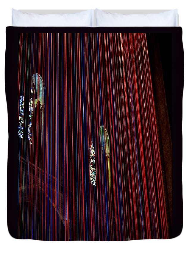 Grace Cathedral Duvet Cover featuring the photograph Grace Cathedral With Ribbons by Dean Ferreira