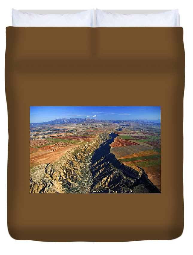 Aerial Duvet Cover featuring the photograph Great Canyon River Gor In Spain by Guido Montanes Castillo