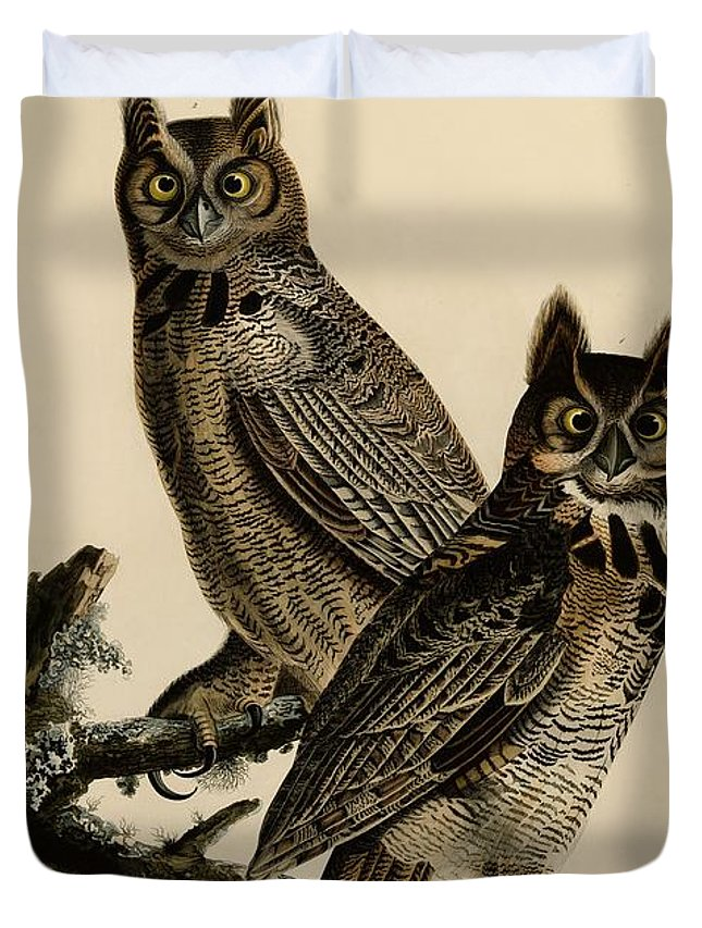 Duvet Cover featuring the painting Great Horned Owl by Celestial Images