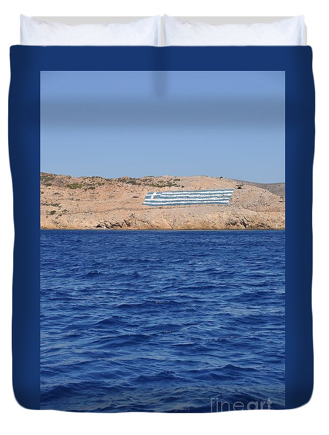Greek Duvet Cover featuring the photograph Greece Flag by Luis Alvarenga