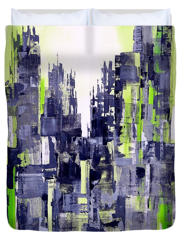 Katie Duvet Cover featuring the painting Green City by Katie Black