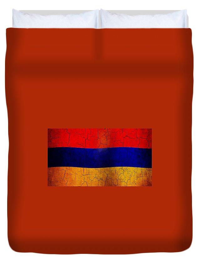 Aged Duvet Cover featuring the digital art Grunge Armenia Flag by Steve Ball