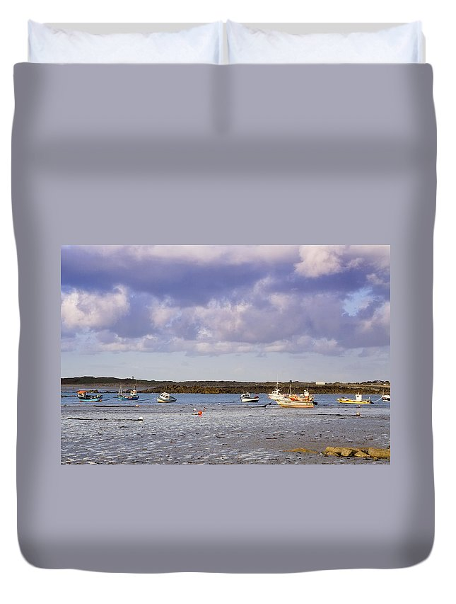Bay Duvet Cover featuring the photograph Guernsey Coastline by Chris Smith