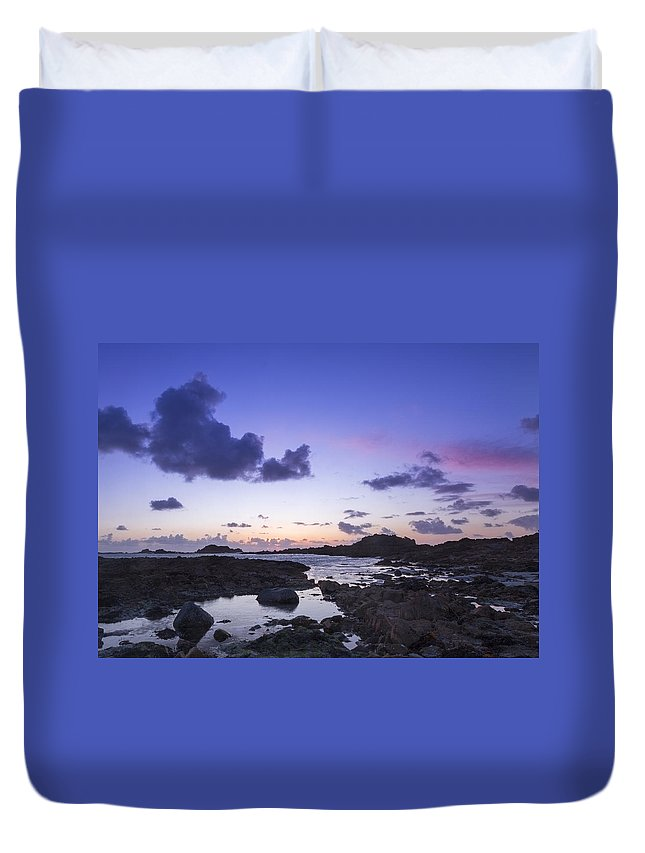 Sunset Duvet Cover featuring the photograph Guernsey Sunset by Chris Smith