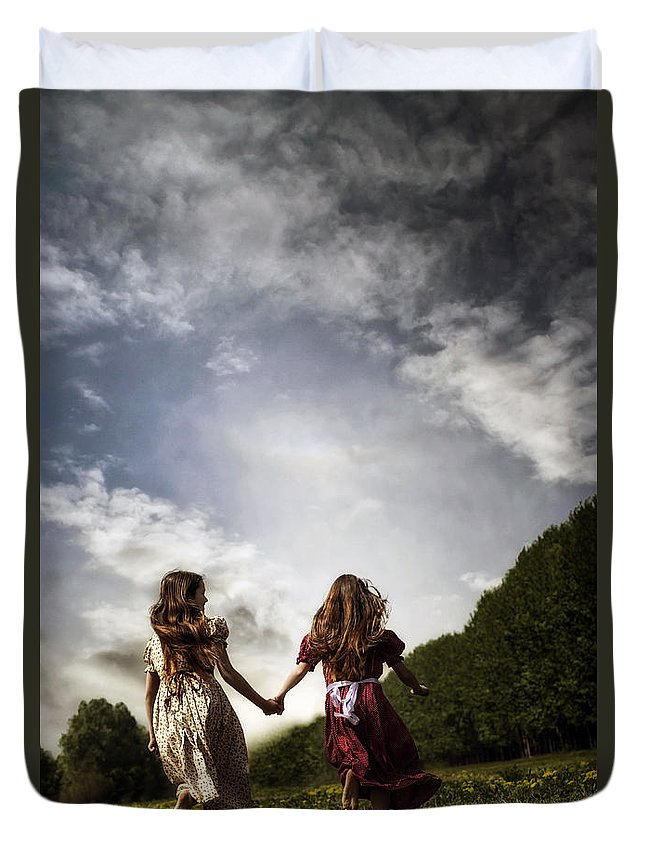 Girl Duvet Cover featuring the photograph Hand In Hand Through Life by Joana Kruse