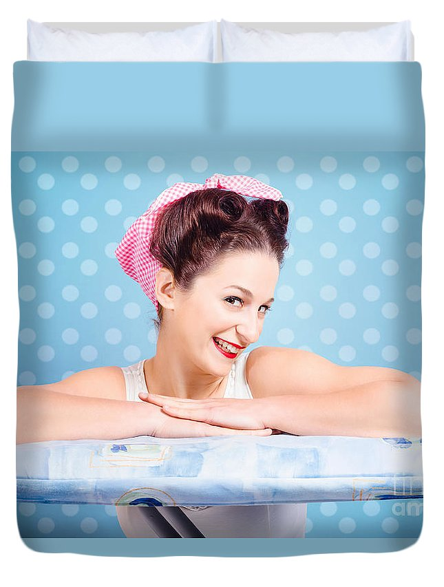 Female Duvet Cover featuring the photograph Happy 60s Pinup Housewife On Blue Ironing Board by Jorgo Photography - Wall Art Gallery