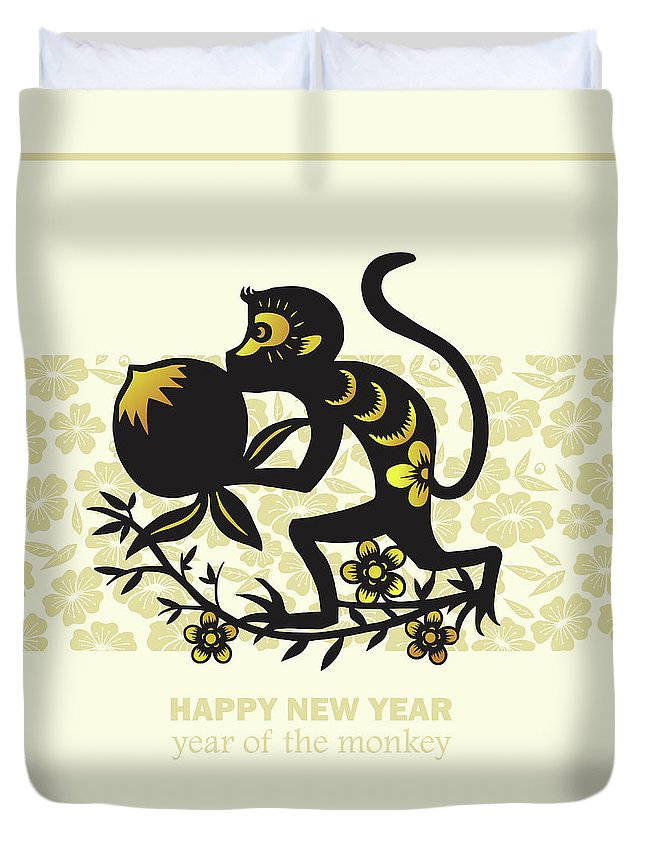 Chinese Culture Duvet Cover featuring the digital art Happy New Year, Year Of The Monkey 2016 by Ly86