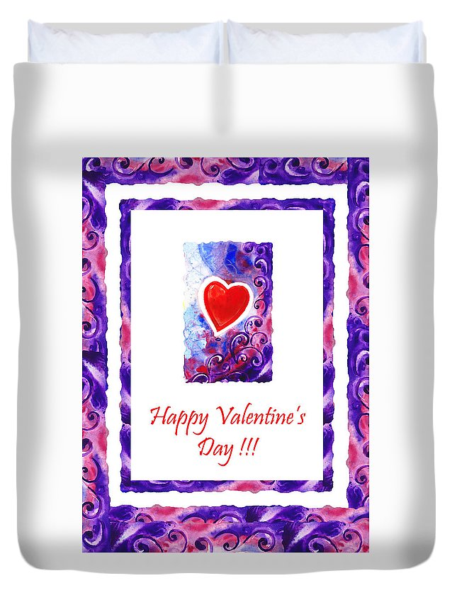 Valentine Duvet Cover featuring the painting Happy Valentines Day by Irina Sztukowski