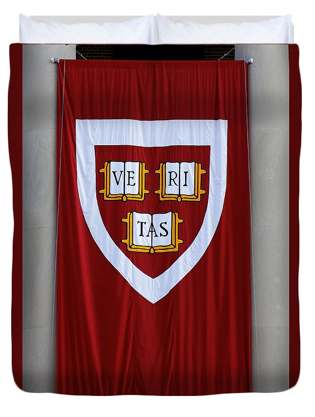 Arms Duvet Cover featuring the photograph Harvard Veritas Banner by Jannis Werner