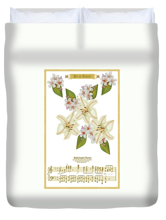 He Is Risen! Holy Scriptures Duvet Cover featuring the painting He Is Risen by Anne Norskog