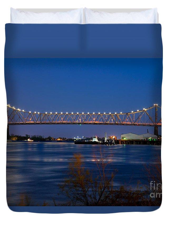 Barge Duvet Cover featuring the photograph Horace Wilkinson Bridge by Bill Cobb