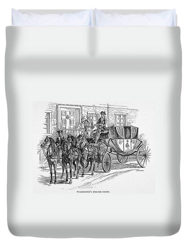 18th Century Duvet Cover featuring the painting Horse-drawn Coach by Granger