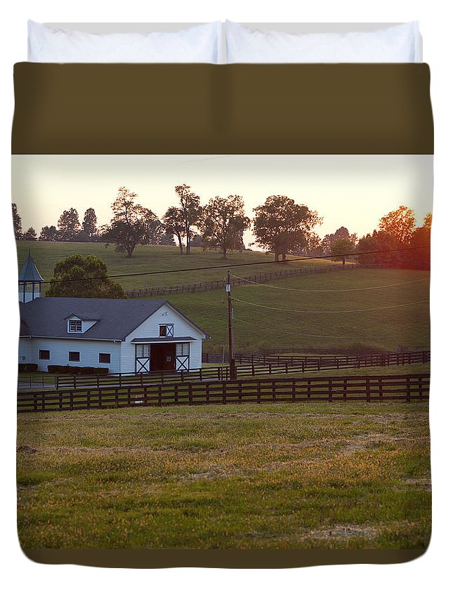 Farm Duvet Cover featuring the photograph Horse Farm Sunset by Alexey Stiop