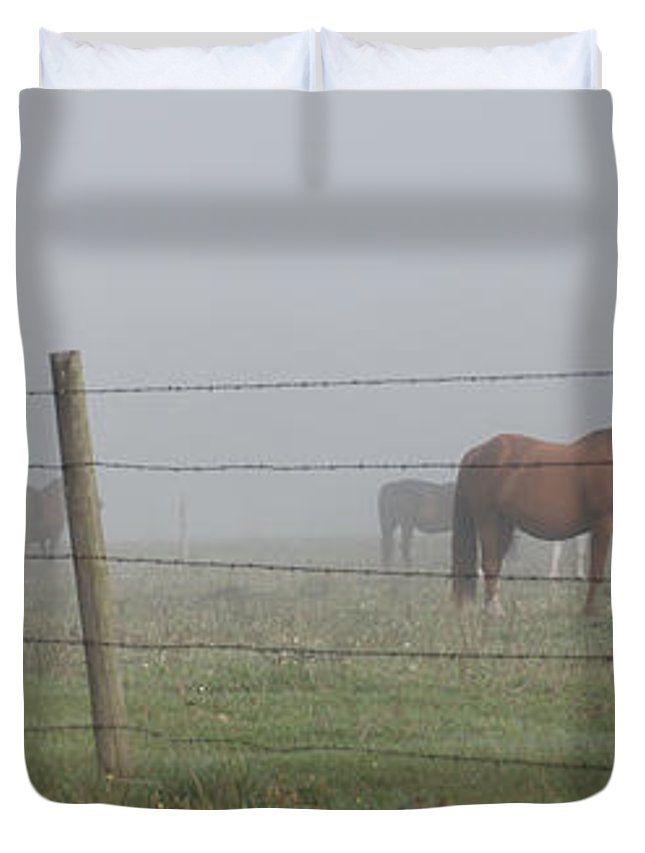Wright Duvet Cover featuring the photograph Horse Pasture by Paulette B Wright