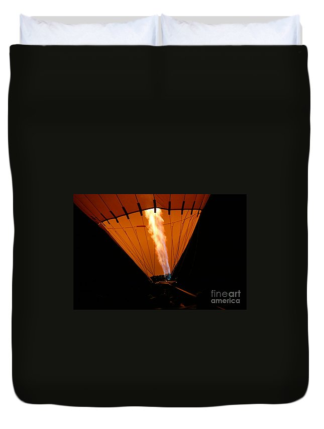 Adventure Duvet Cover featuring the photograph Hot Air Balloon by Henrik Lehnerer