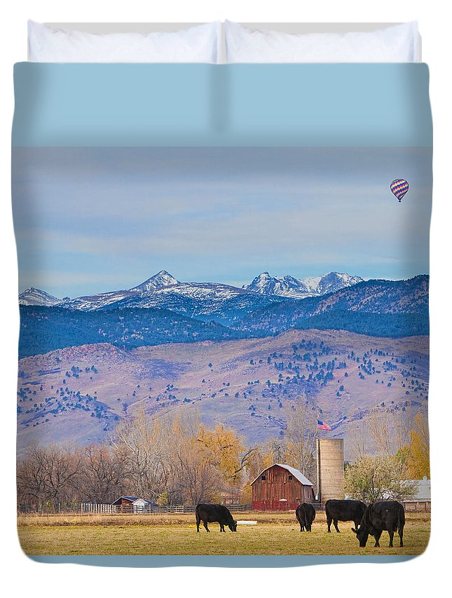 'hot Air Balloon' Duvet Cover featuring the photograph Hot Air Balloon Rocky Mountain County View by James BO Insogna