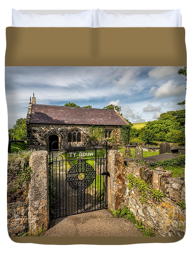 Gwynhoedl Graveyard Duvet Cover featuring the photograph House Of God by Adrian Evans