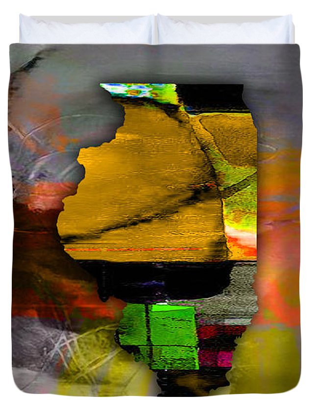 Chicago Art Duvet Cover featuring the mixed media Illinois Map Watercolor by Marvin Blaine