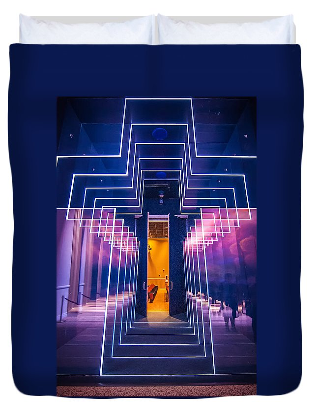 Beam Duvet Cover featuring the photograph Illuminated Cross by Alex Grichenko