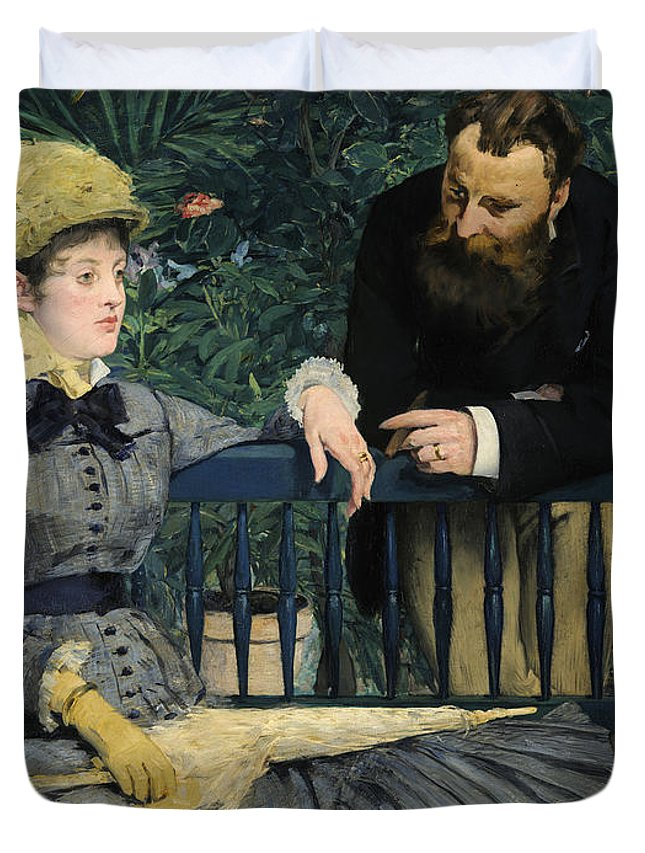 1879 Duvet Cover featuring the painting In The Conservatory by Edouard Manet