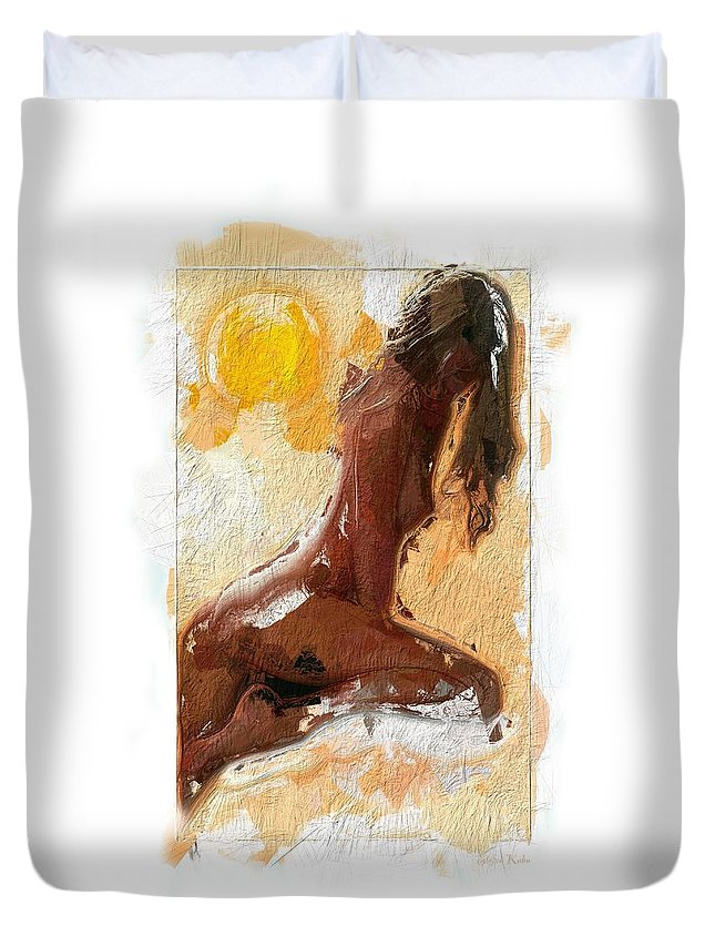 Girl Woman Nude Female Sexy Boobs Tits Curves Figure Sun Sunlight Abstract Portrait Expressionism Impressionism Beauty Erotic Colorful Heat Hot Butt Sensual Duvet Cover featuring the painting In The Heat Of The Sun by Steve K