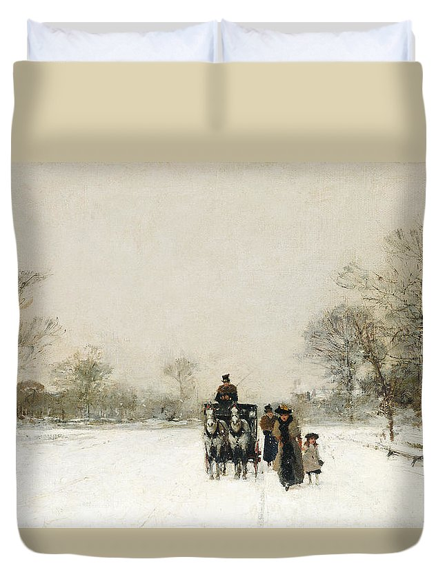 Winter Duvet Cover featuring the painting In The Snow by Luigi Loir