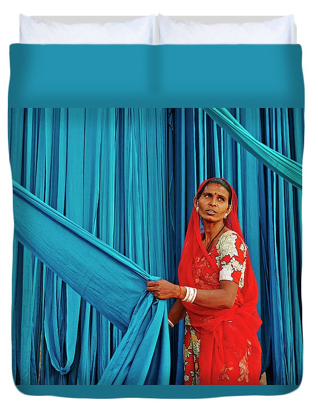 People Duvet Cover featuring the photograph India, Rajasthan, Sari Factory by Tuul & Bruno Morandi