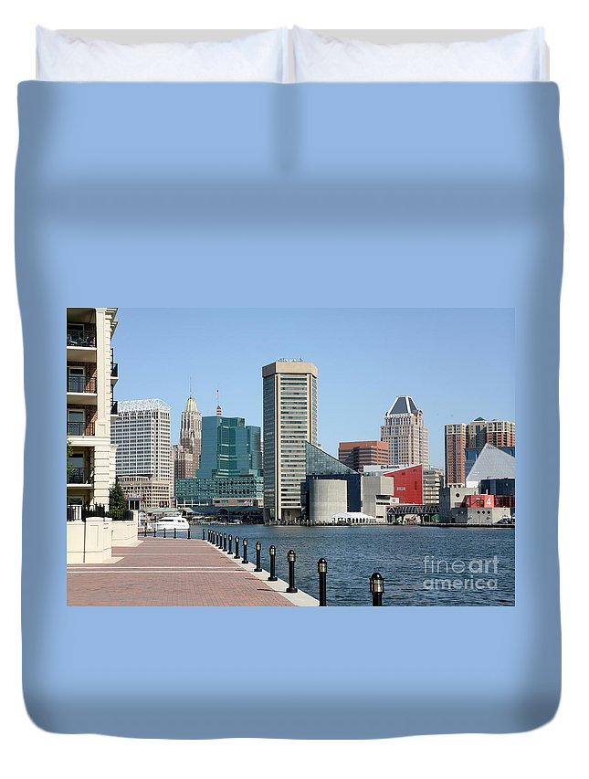 Baltimore Duvet Cover featuring the photograph Inner Harbor by Bill Cobb