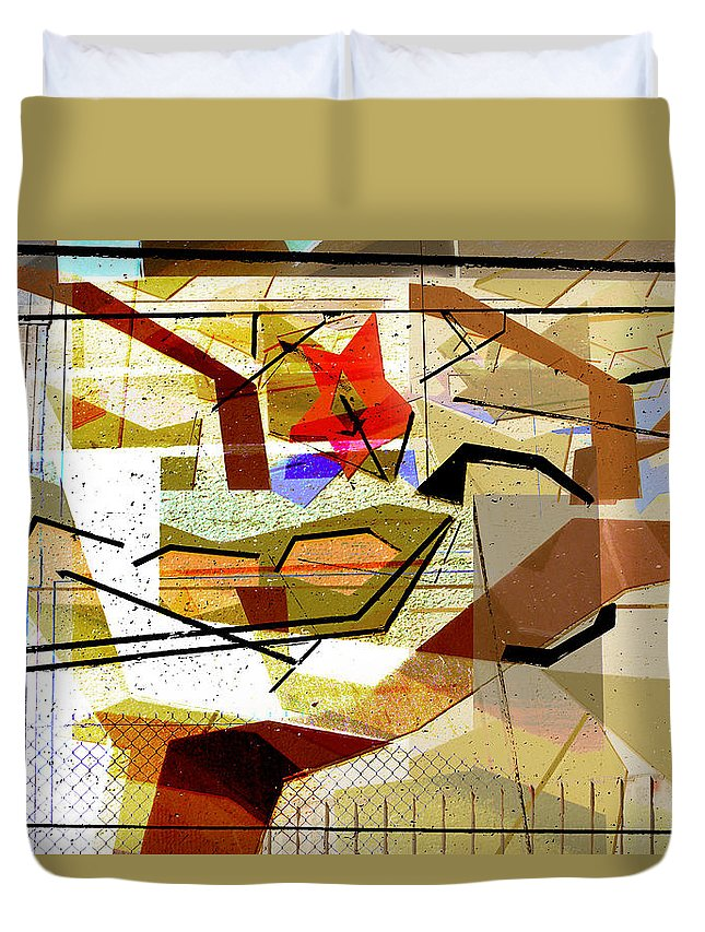 Interstate 10 Duvet Cover featuring the digital art Interstate 10- Exit Out West- Where Life Begins New- Rectangle Remix by Arthur BRADford Klemmer